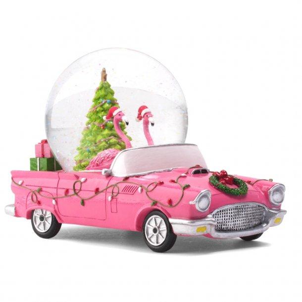 Flamingoer i jule bil